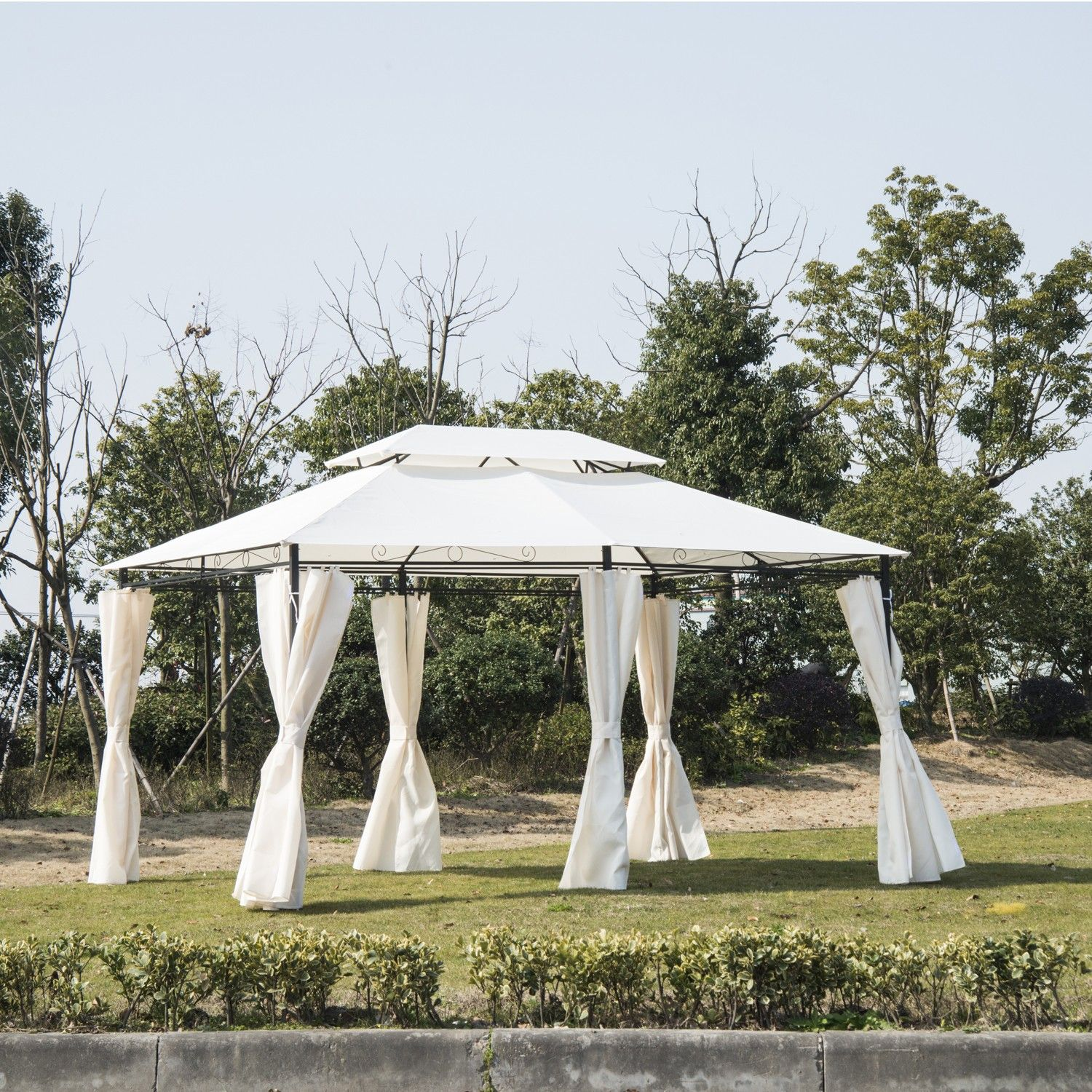 Outsunny Gazebo Tent Canopy Pop-Up Sun Shelter Outdoor Lawn Garden Party Wedding w/ & Outsunny Gazebo Tent Canopy Pop-Up Sun Shelter Outdoor Lawn Garden ...