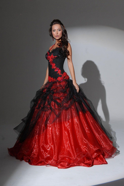 Robe de bal rouge et noir