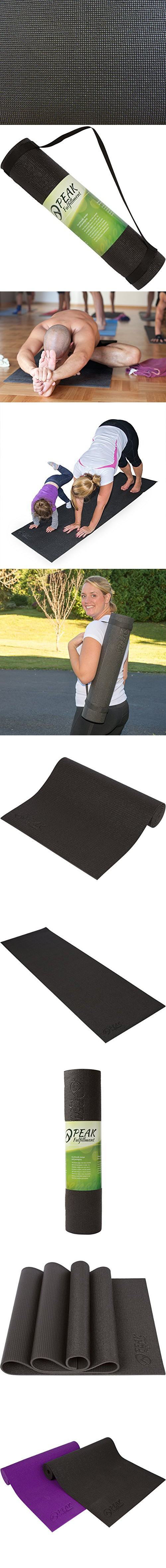 Peak Fulfillment 8mm 0 3 Inch Thick Non Slip Memory Foam Yoga Mat With Carrying Strap 76 Inch Black Yoga Store Yoga Mat Yoga