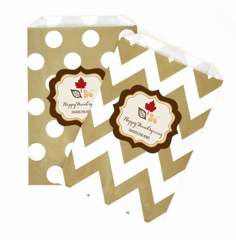 "Thanksgiving Personalized Goodie Bags (set of 12). There is a lot to be thankful for this season. Why not show your love and appreciation to the people you love with these treats? These Thanksgiving Goodie Bags are just the extra sparkle you're looking for. Whether you're filling them with tasty candies or freshly baked goods, these goodie bags will impress! You can lay them out at a candy buffet table for a decorative ""pack your own"" goodie bag! Due to the personalization for this product…"