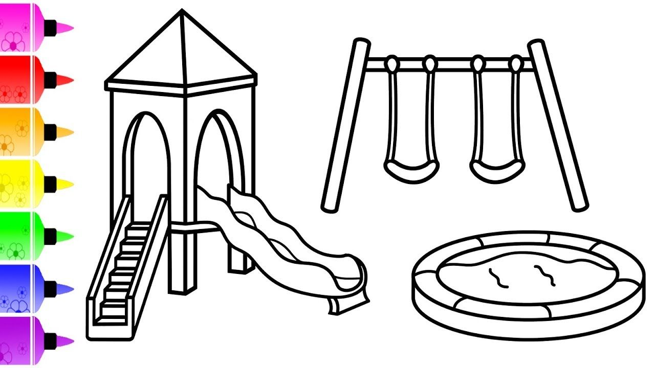 How To Draw Kids Ladder Slide Sandbox And Swing Set For Kids
