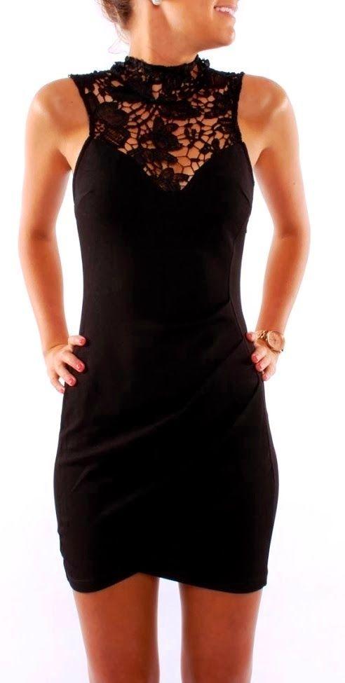 Adorable Neck Lace Black Dress