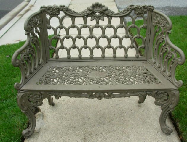 From The Garden Antiques Collection At American Classical. A Kramer Bros  Cast Iron Garden Bench