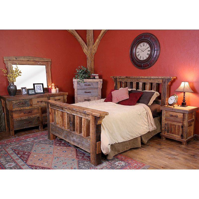 Rustic bed with reclaimed lumber