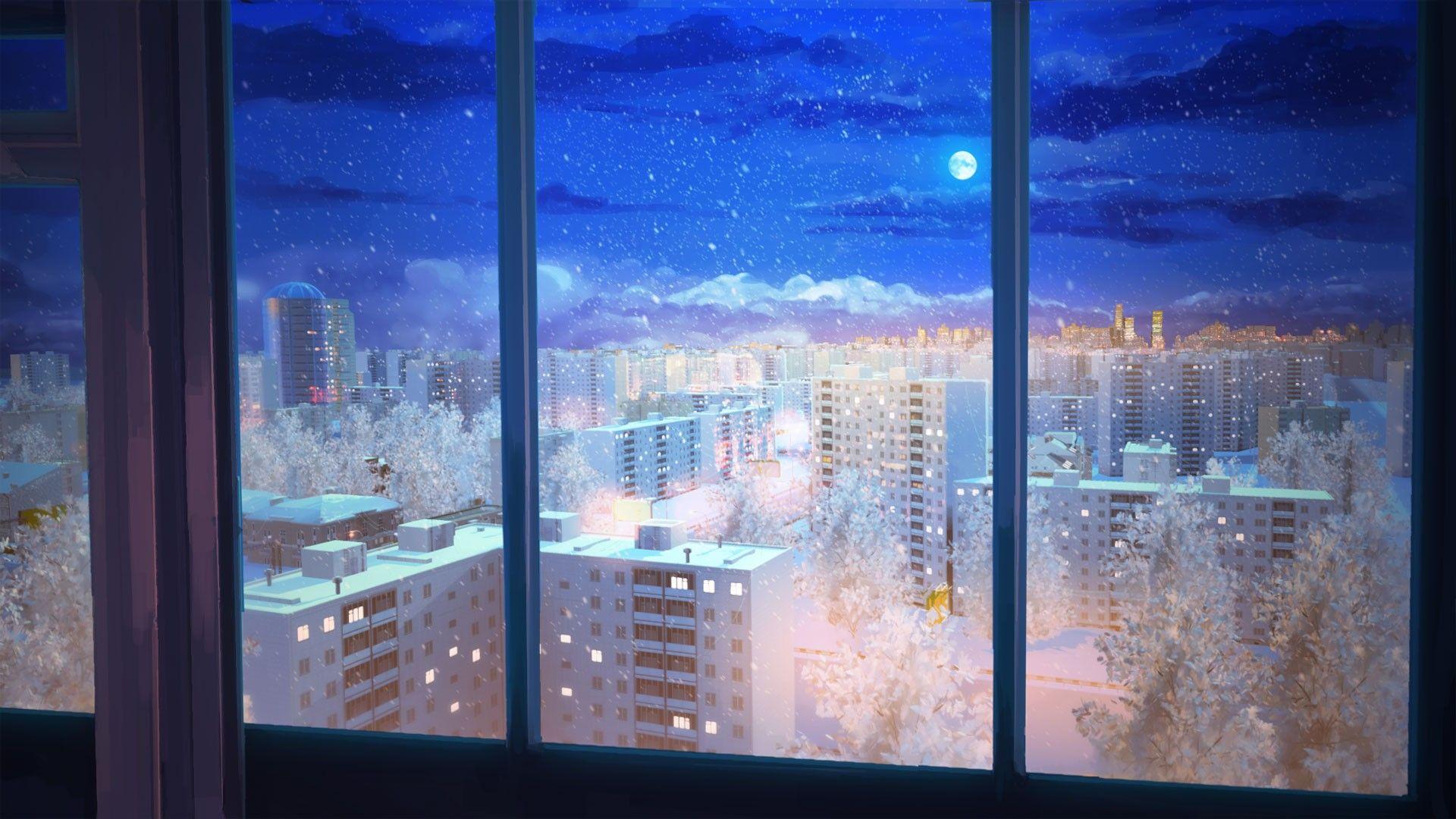 Night Snow Everlasting Summer Wallpaper Anime Scenery Anime Scenery Wallpaper Episode Backgrounds