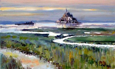Mont St Michel Tableau Peinture Huile S Toile 50x30 Signe R