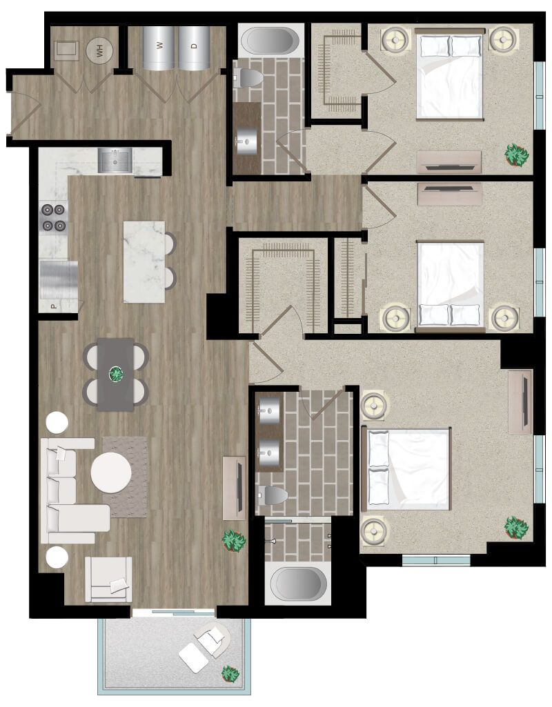 Pin by Icon Harbour Island Apartments on Three Bedroom