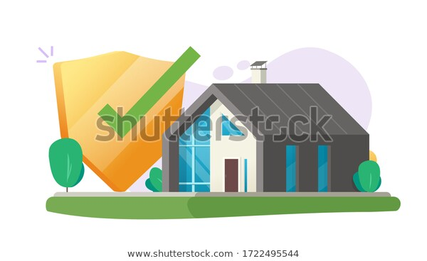 Home Insurance Security Protection Care Safe Stock Vector