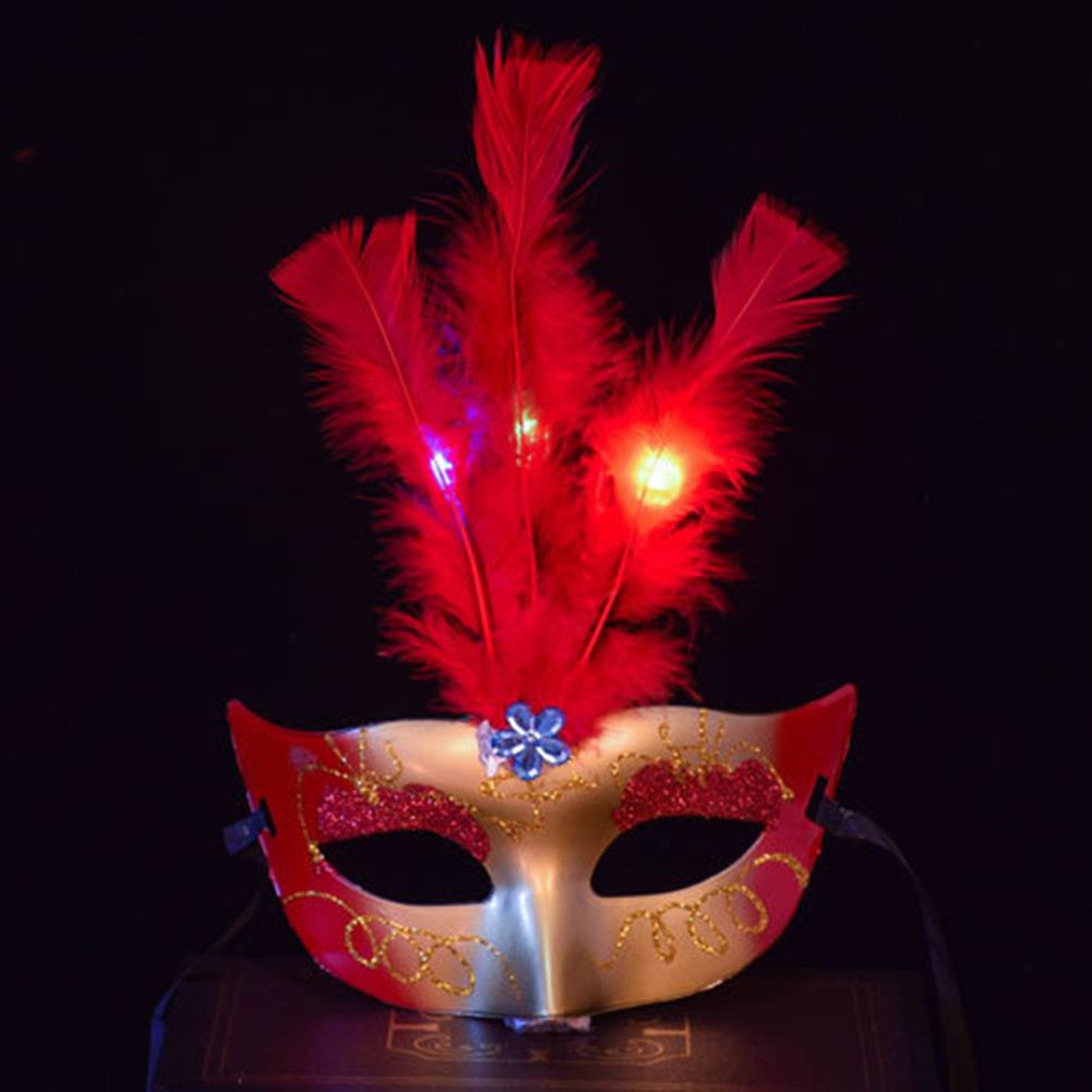 Feather Style for Carnival  Festival Fancy Dress Party Glowing Masquerade Mask