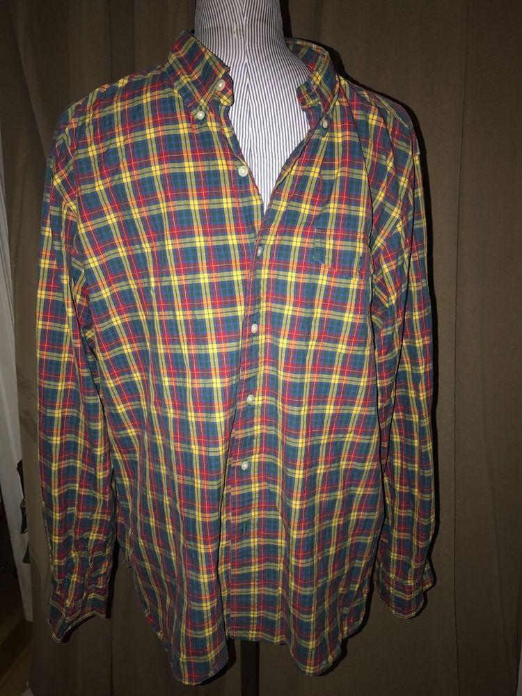 3826ab58761ac Ralph Lauren Polo green yellow Buchanan Plaid cotton button down shirt XXL   PoloRalphLauren  ButtonFront