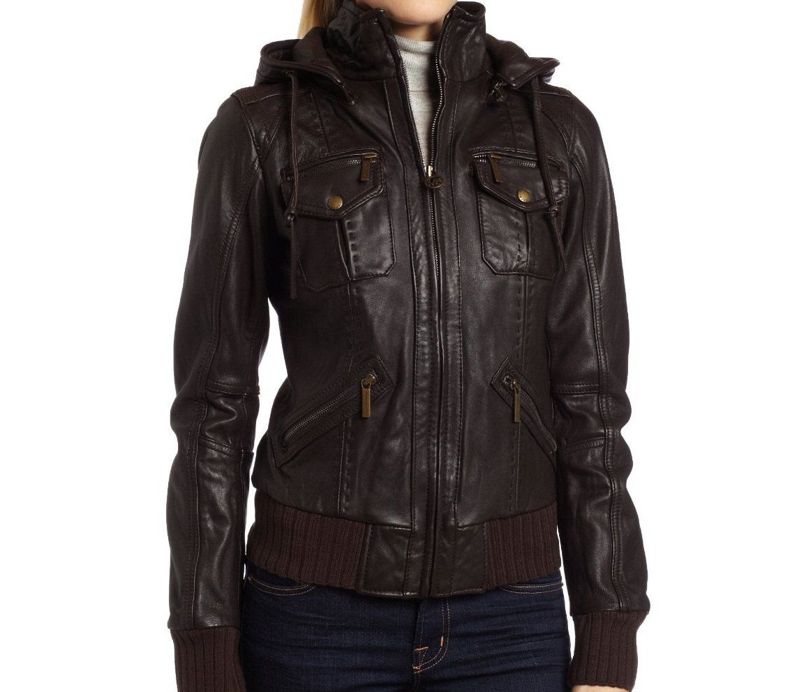 Dark Brown Leather Jacket Leather Jacket With Hood Hoodie Jacket Women Leather Jackets Women [ 992 x 1152 Pixel ]