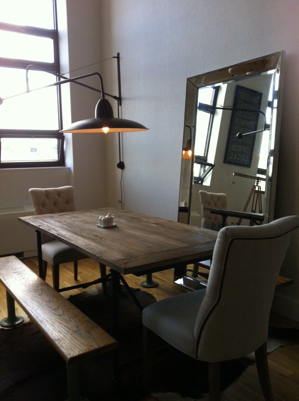 Boom Sconce in dining room with reclaimed wood table ... on Dining Room Sconce Idea id=36633