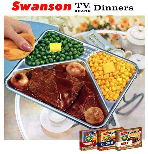 in tin trays ... no microwaves back then! I liked the salisbury steak.