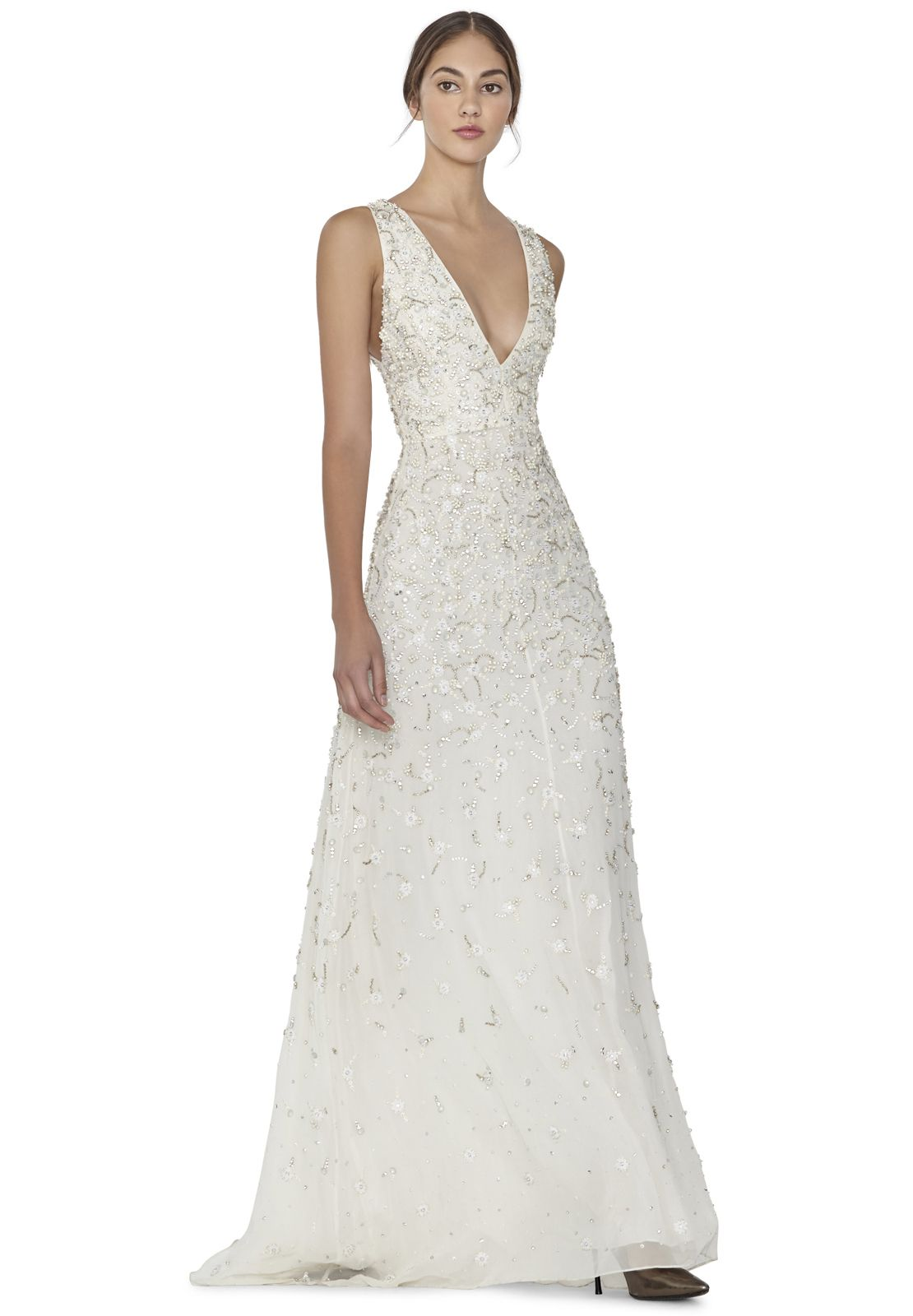 Desirae Embellished Plunging V Neck Gown By Alice Olivia