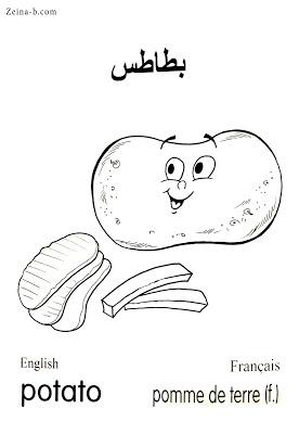 بطاطس Potato Pomme De Terre رسومات خضروات خضار للتلوين جاهزة للطباعة مع الاسماء In 2021 Character Color Art
