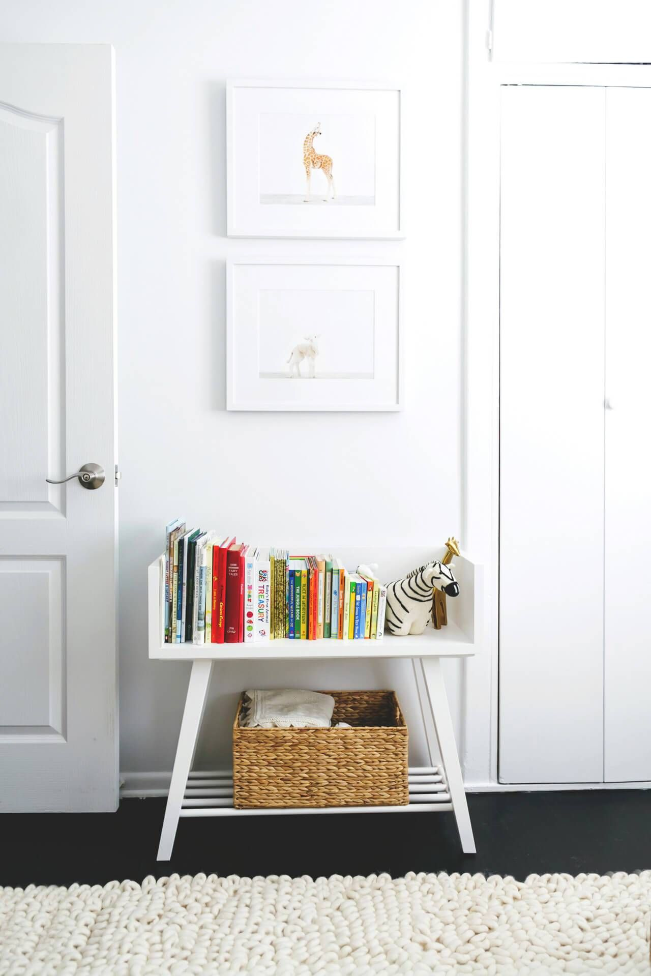 A Cute White Bookcase In Nursery Childrens