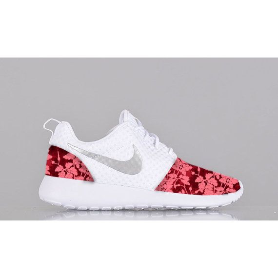New Nike Roshe Run Custom Red Pink White Floral Edition Womens Shoes Sizes 5  - 12