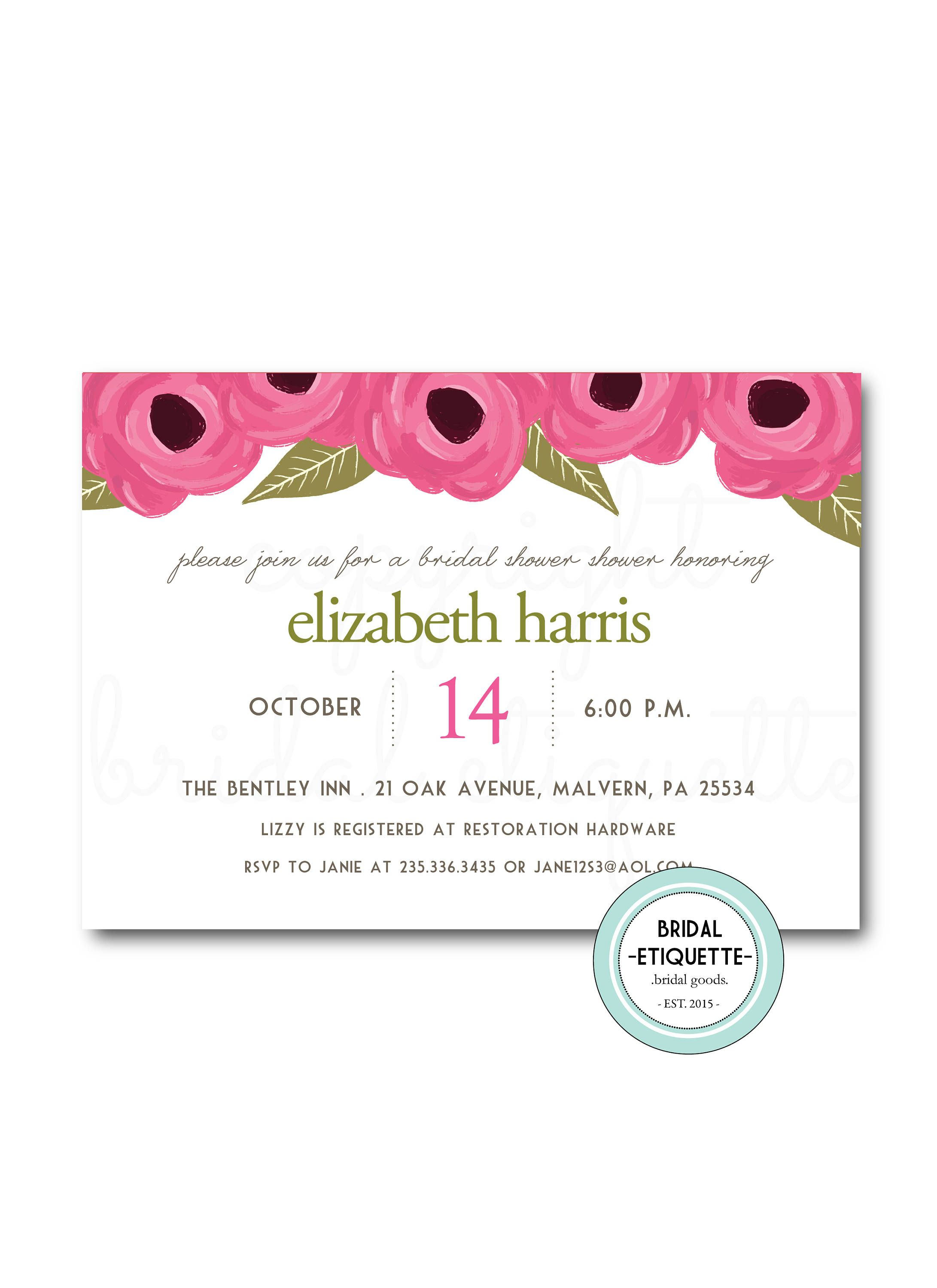 fall floral bridal shower invite pink wedding shower pink wedding shower rustic bridal