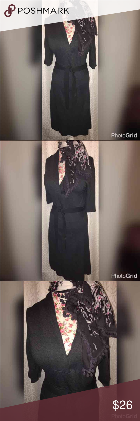 "NWOT RALPH LAUREN SWEATER FAUX WRAP/SCARF SZ LG HUGE SALE!! THIS BEAUTIFUL DARK GREY DRESS IS MADE BY LAUREN RALPH LAUREN! COMES WITH ATTACHED BELT. IT ALSO COMES WITH THE LOVELY POM POM SCARF!  IT IS 20"" ACROSS THE CHEST AND IS 45"" FROM THE CHEST AND IS SOPHISTICATED AND GORGEOUS! IT IS MADE OF 48% VISCOSE, 37% NYLON 15% COTTON! SIMPLY GORGEOUS!! Lauren Ralph Lauren Dresses Midi"