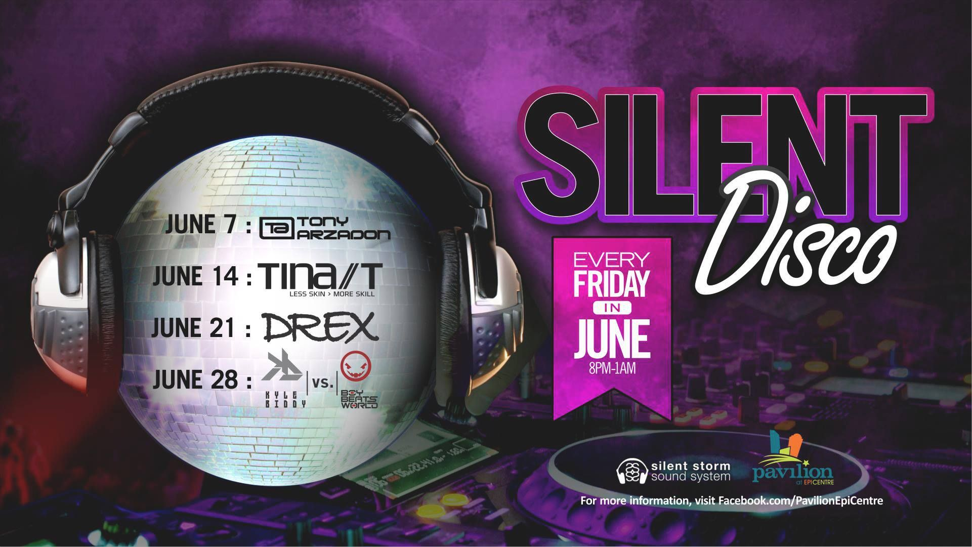 Silent Disco Friday Series At Pavilion At Epicentre Charlotte Nc Storm Sounds Event Flyers Disco