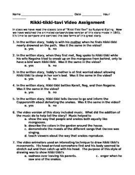 Rikki Tikki Tavi Video And Literature Activity Literature Activities Literature Lessons Literature Lesson Plans