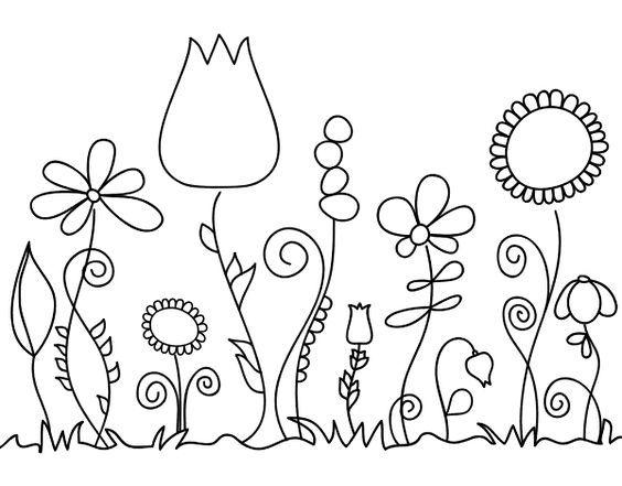 Dibujo de Flores del bosque para Colorear | Pintar Macetas ...