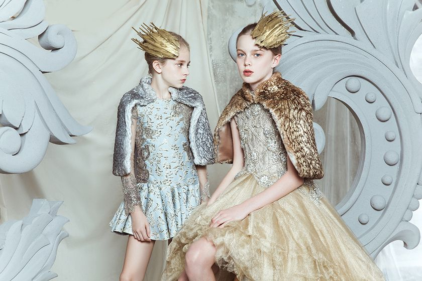 Gilded fur capes and winged hair accessories reflect the Ancient Greek theme for Mischka Aoki fall/winter 2015 party and Holiday kids fashion looks