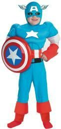 Captain American Costume with Muscles Child Size