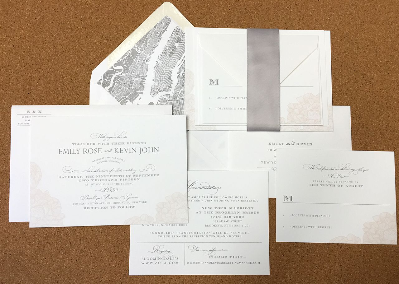 Soft And Simple Invite Grey And Peach Floral New York City Map