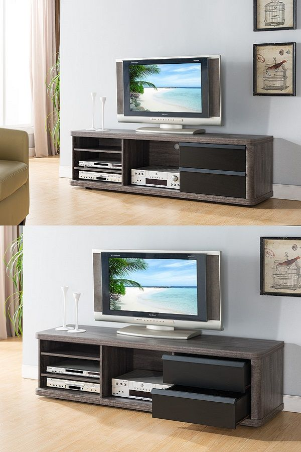 161481 Smart Home Distressed Grey Black Edition Entertainment Console Tv Stand 6 Home Entertainment Centers Black Entertainment Centers Entertainment Center