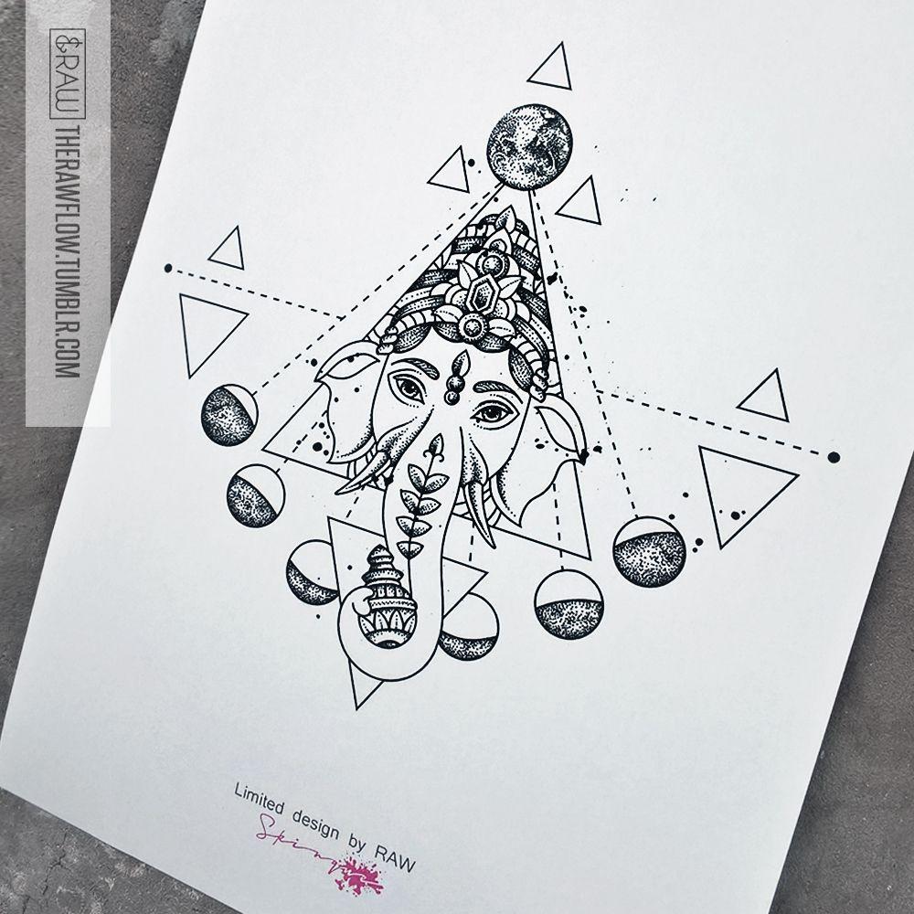 Ganesha moon astronomy tattoo design (custom design for