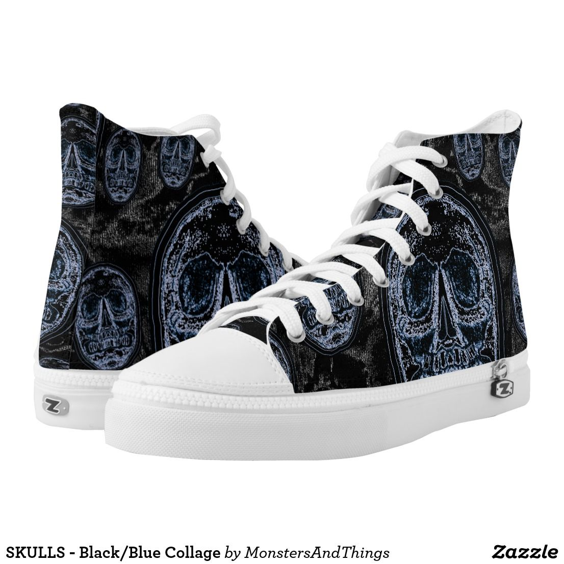 SKULLS - Black/Blue Collage High-Top Sneakers. zazzle.com