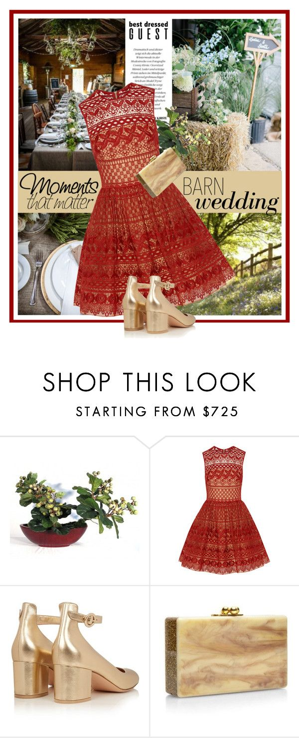 """Barn Wedding Guest"" by ollie-and-me ❤ liked on Polyvore featuring Elie Saab, Gianvito Rossi, Edie Parker, bestdressedguest and barnwedding"