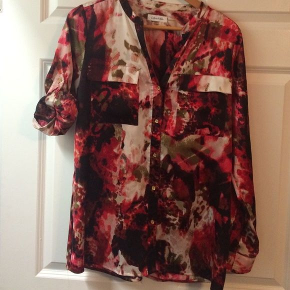 Pretty top, button down medium Silky blouse with black, pink, gold, beige, can be 3/4 sleeved Calvin Klein Tops Blouses