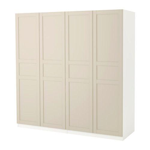 pax armoire penderie blanc flisberget beige clair 200x60x201 cm armoire penderie charni re et. Black Bedroom Furniture Sets. Home Design Ideas