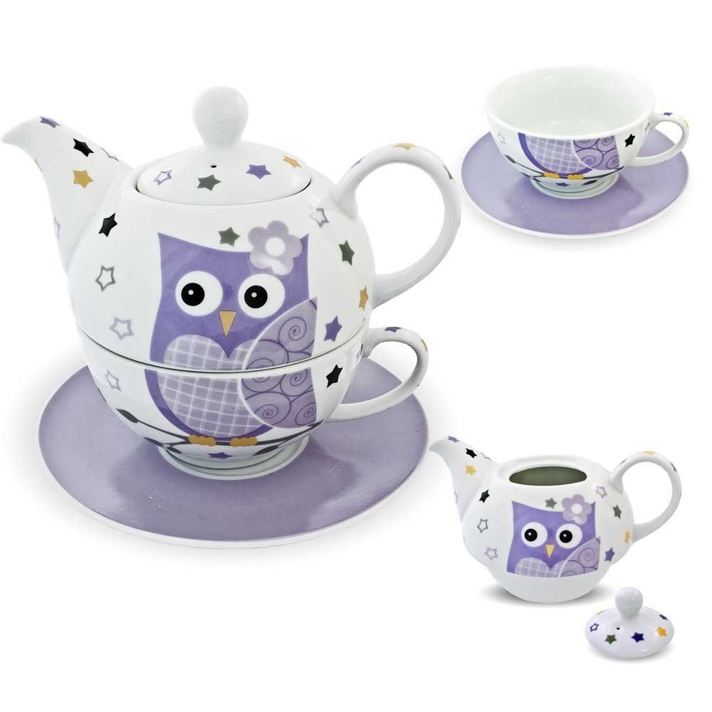 Porzellan Tee Set Tea For One Teeservice Teekanne Tasse Untersetzer Eule  Lila Weiß: Amazon.