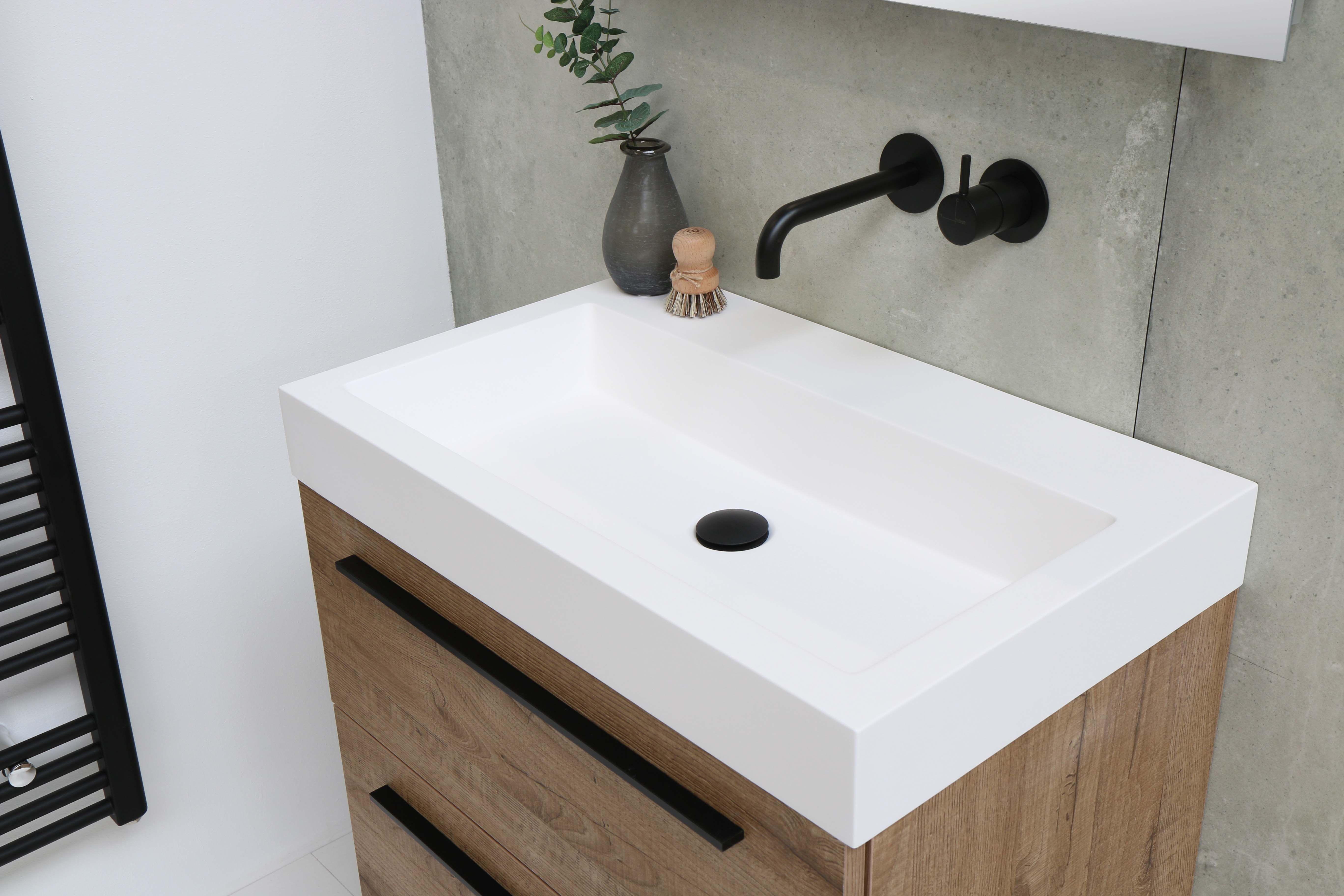 Wastafel 70 Cm : Mat wit cm onderkast met greep naturel eiken badkamer