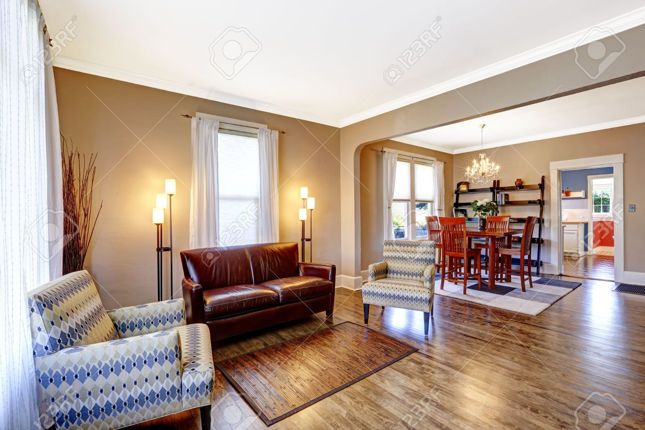 Flooring For Dining Room Endearing Stock Photo  Living Room Interior With Hardwood Floor Leather Design Decoration