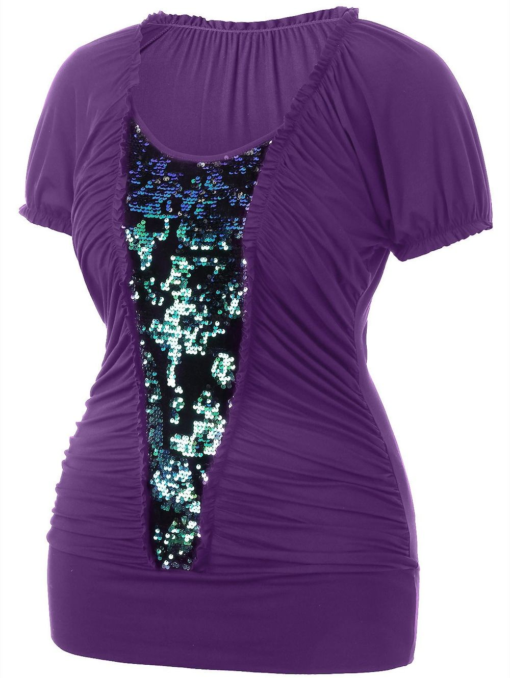 922361ad933 Plus Size Sequined Insert Ruched T-shirt - PURPLE 2X