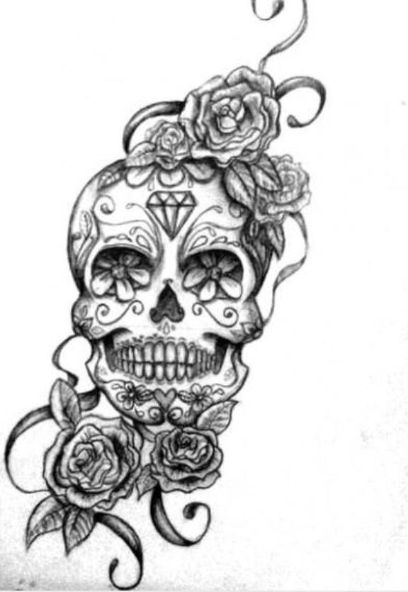 Unique Skull And Roses Tattoo Sugar Skull Tattoos Skull Tattoo Design Tattoos