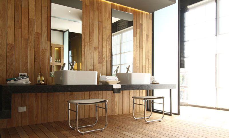 pared de madera Casa Cube Pinterest