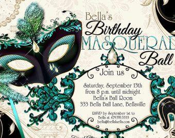 Masquerade Party Invitation Mardi Gras Party Party Invitations