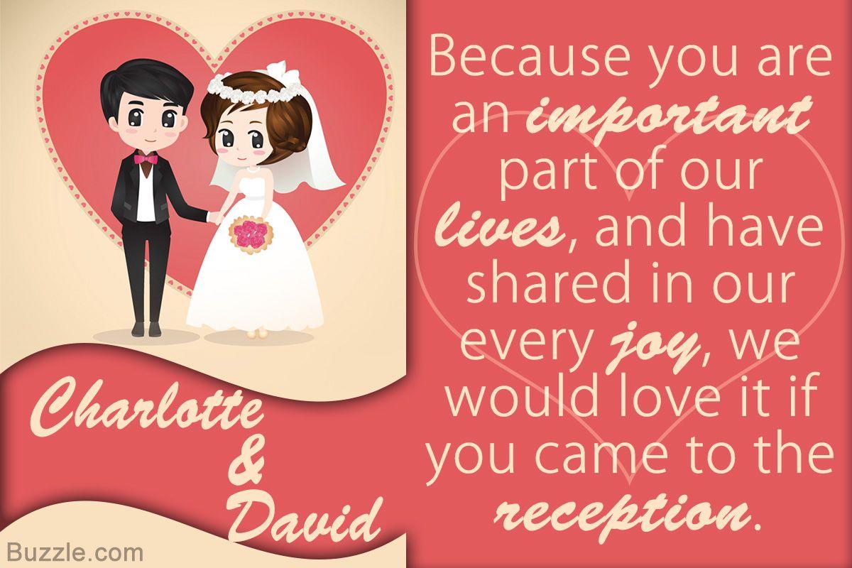 Wording for wedding reception invites | Wedding | Pinterest ...