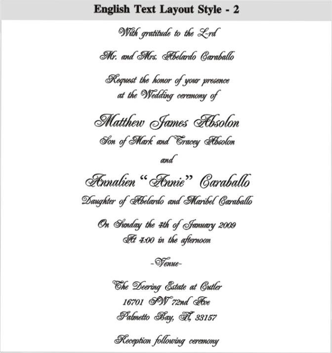 , invitation card matter for marriage in english, invitation card of marriage in english, invitation samples