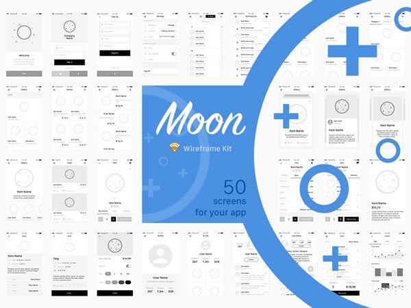 Moon - App Wireframe Kit