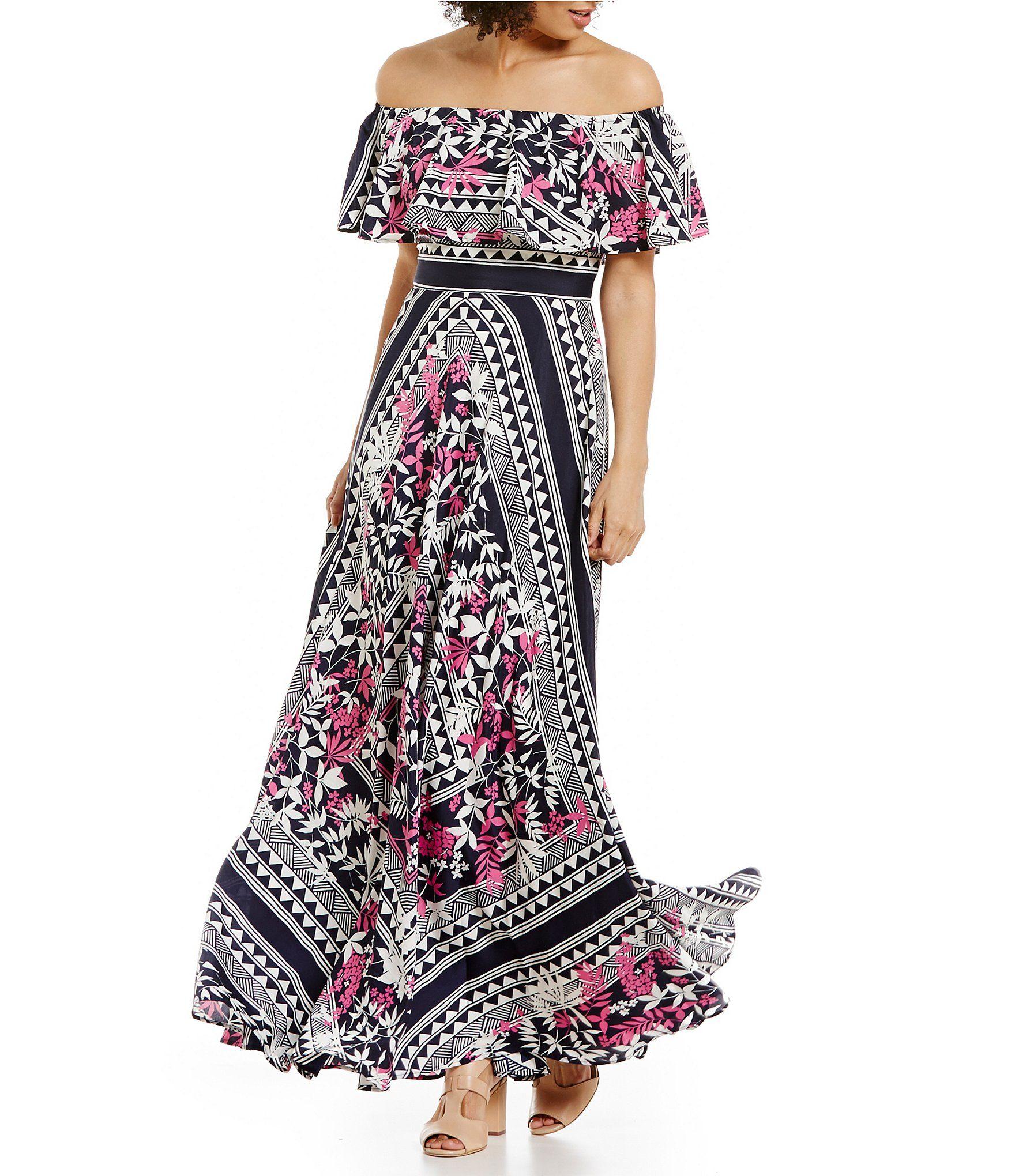 Shop for Eliza J Off The Shoulder Scarf Printed Maxi Dress