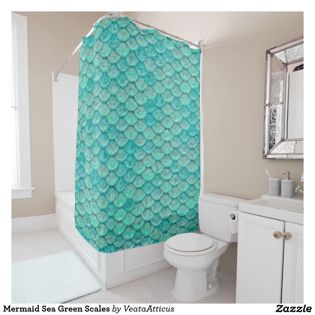 Mermaid Sea Green Scales Shower Curtain