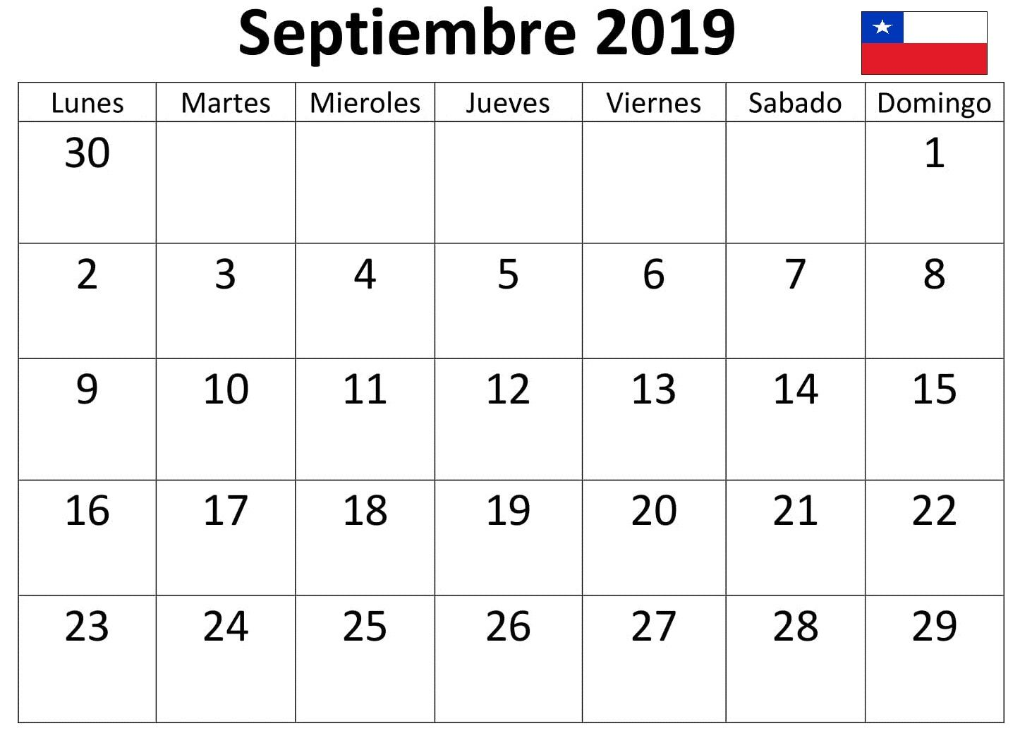 Calendario Diciembre 2019 Chile.Calendario 2019 Septiembre Chile Word Calendario