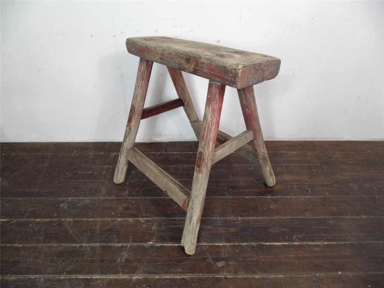 Vintage Rustikal Antik Holz Hocker Melken Extra L Nicht L123 | EBay