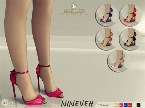 "madlensims:    Madlen Nineveh Shoes""Nineveh"" is the lady of the season! Her dashing design exposes the foot in all the right places while her slender ankle strap keeps you buckled in. Come in 6 shiny variations (patent leather texture). Mesh is completely new, made by myself and low poly. Joints are perfectly assigned. All LODs are replaced with new ones.You cannot change the mesh, but feel free to recolor it as long as you add original link in the description.If you can't see this creation…"